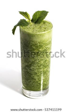 Green detox healthy juice over white background.