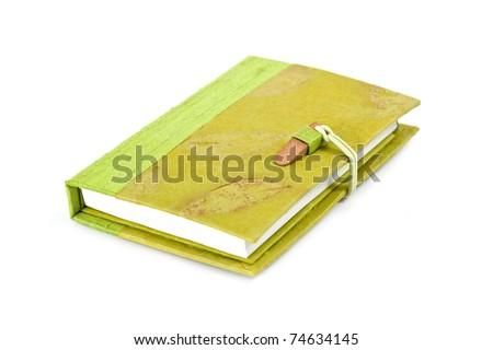 Green diary book on white background. - stock photo
