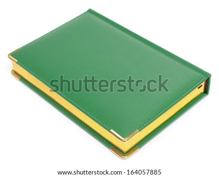 green diary isolated on white - stock photo