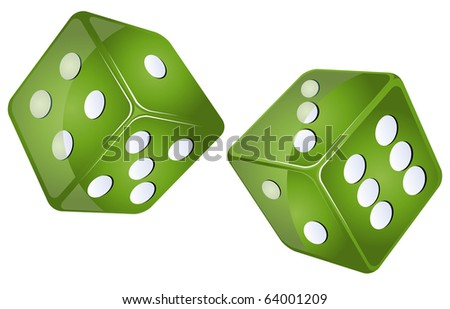 green dices, isolated objects against white background - stock photo