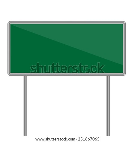 green direction sign.  illustrator - stock photo