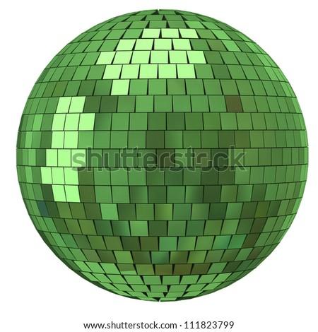 Green disco mirror ball - stock photo