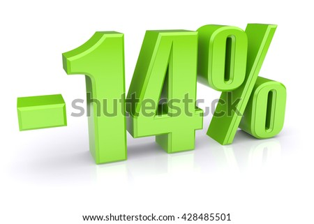 Green 14% discount icon on a white background. 3d rendered image