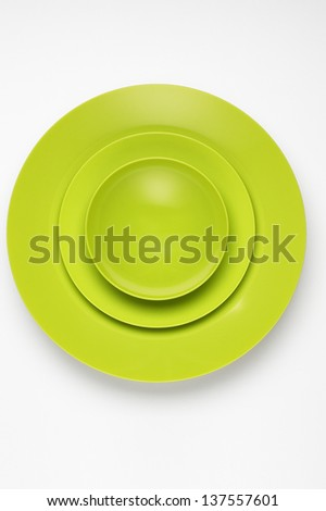 Green Dishes - stock photo