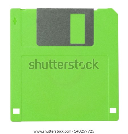 Green diskette on white background (with clipping path) - stock photo