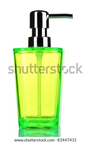 green dispenser for liquid soap isolated on white