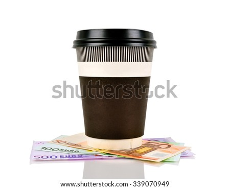 green disposable coffee cup and euro banknotes - stock photo