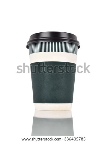 green disposable coffee cup on a white background - stock photo