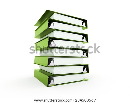Green documents folder book rendered on white background - stock photo