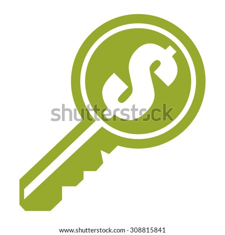 Green Dollar Currency Key Infographics Flat Icon, Sign Isolated on White Background - stock photo