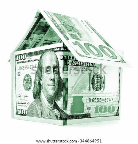 Green dollar house, money building, isolated on white background - stock photo