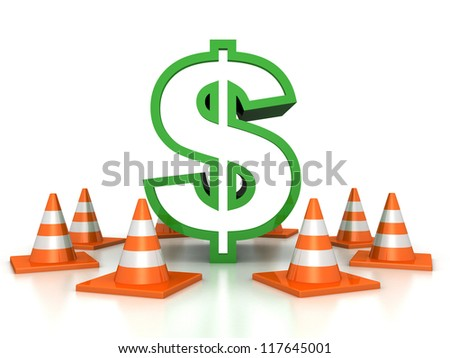 green dollar sign and road traffic cones on white background - stock photo