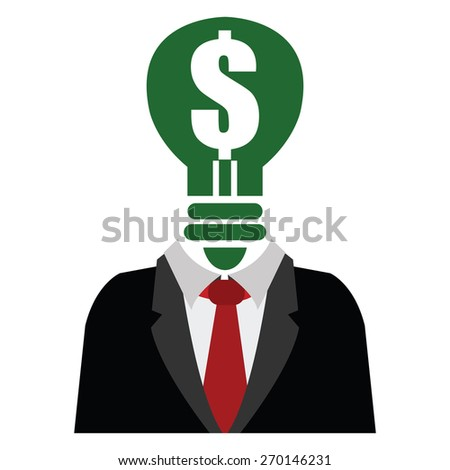 Green Dollar Sign Light Bulb Head Businessman Isolated on White Background - stock photo