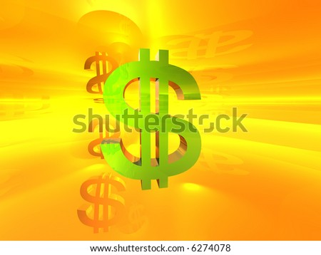 green dollar symbol in abstract 3d background - stock photo