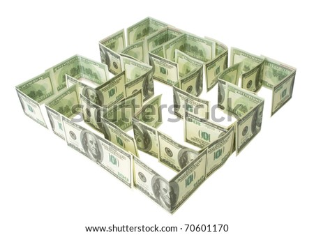 Green dollars labyrinth isolated on the white - stock photo