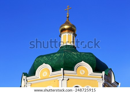 Green dome of the current orthodox church of the seventeenth century - stock photo