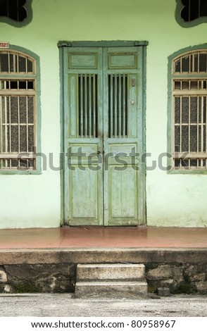 Green Door, George Town, Penang, Malaysia - stock photo