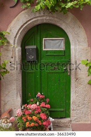Green door in the form of the arch with flowers - stock photo