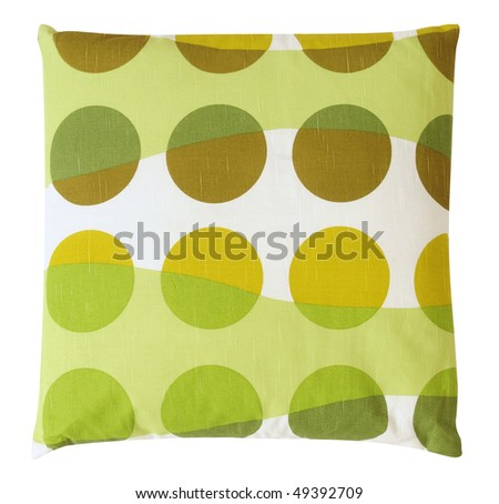Green dotted cushion. Isolated - stock photo