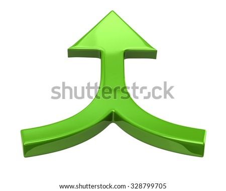 Green double arrow on white background