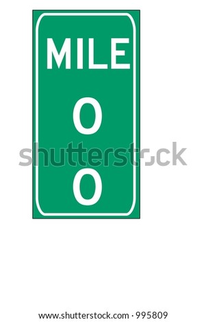 Green double digit mileage sign isolated on a white background