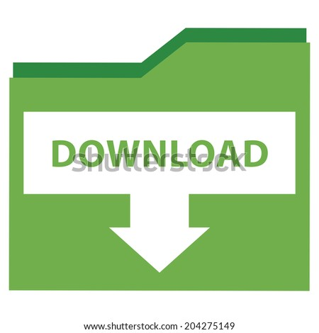 Green Download Document Icon, Sign or Button Isolated on White Background  - stock photo