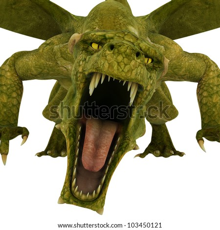 green dragon front attack close up - stock photo
