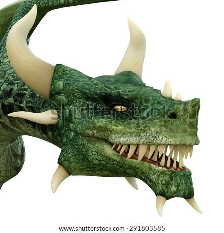 green dragon head - stock photo