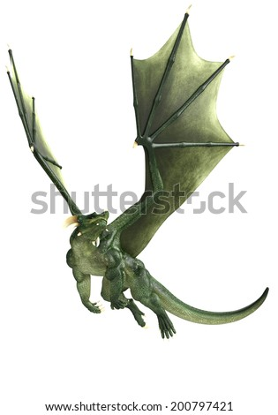 green dragon is just flying - stock photo