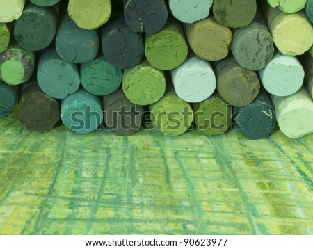 green dried pastels - stock photo