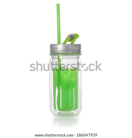 green drink cup with straw - stock photo