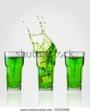 green drink splash - stock photo