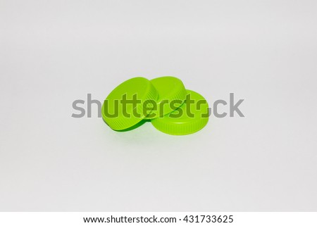 Green drinking water cap with white background isolated. can use for advertising or campaign save the world, green world are global warming. this is recycle - stock photo