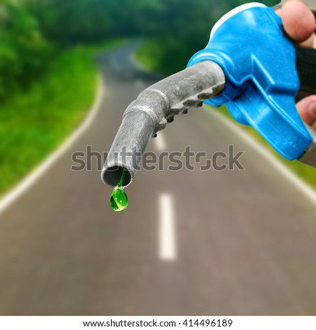 Green drop of petrol