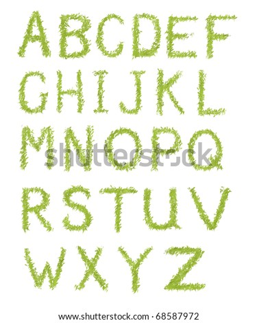 Green dry brush alphabet letters isolated on white background
