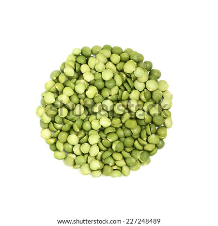Green dry peas in the form of a circle isolated on a white background. - stock photo