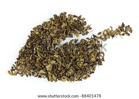 green dry tea leaf shape isolated on white - stock photo