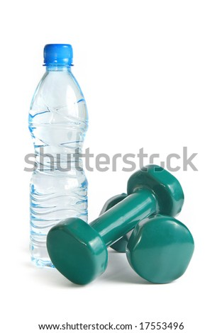 green dumbbells and a bottle of water isolated on white background - stock photo