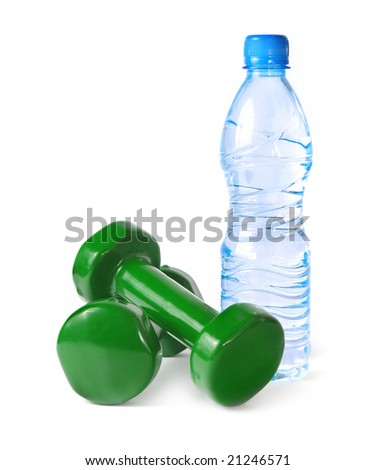 green dumbbells and a bottle of water isolated on white background