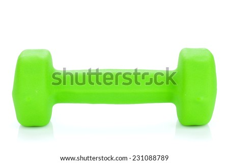 Green dumbell. Isolated on white background - stock photo