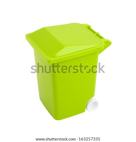 green dumpster isolated on white - stock photo