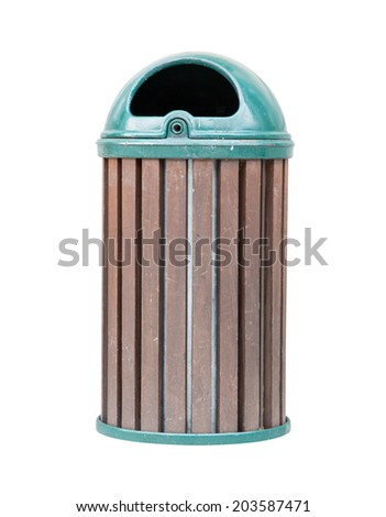 Green dust bin isolated over white background.  - stock photo