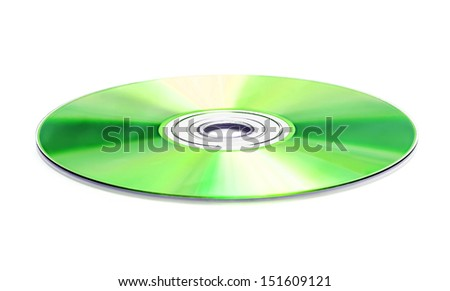 Green DVD disk isolated on white background  - stock photo