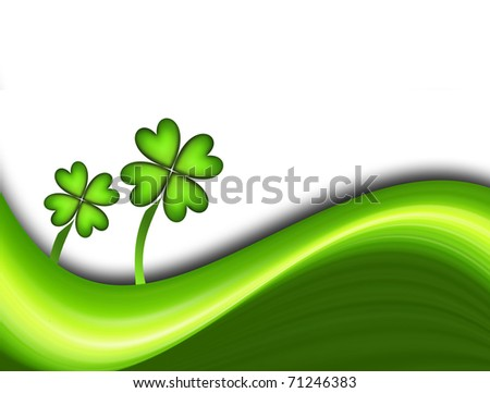 Green dynamic waves with two lucky clover. Illustration - stock photo