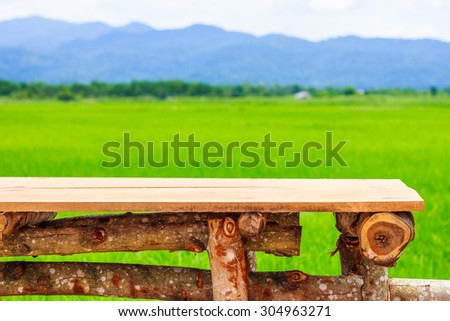 Green ear of rice in paddy rice field under blue sky and chair - stock photo