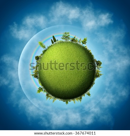 Green Earth. Abstract eco backgrounds over blue skies and clouds - stock photo