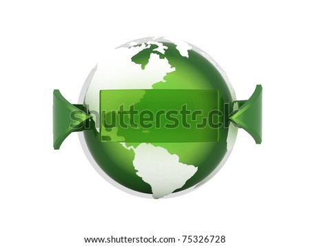 Green earth and arrow - computer render - stock photo