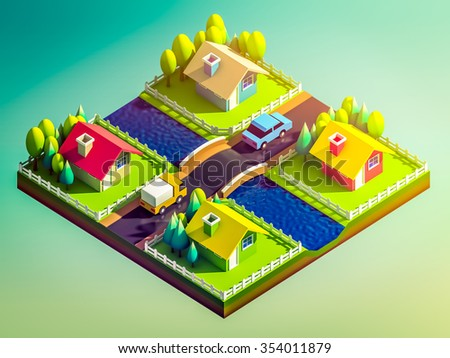 green earth concept in isometric view, isometric background - stock photo