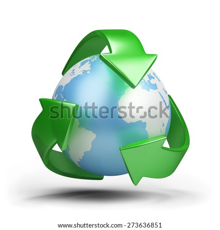 Green earth - ecological concept. 3d image. White background. - stock photo