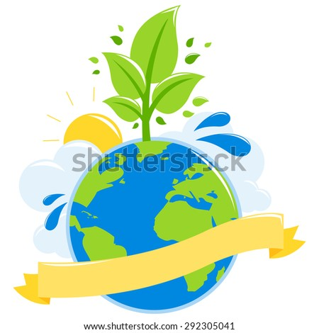 Green earth ecology concept. Illustration of a globe growing a healthy tree, the sun, water and clouds. Blank banner to fill in text.